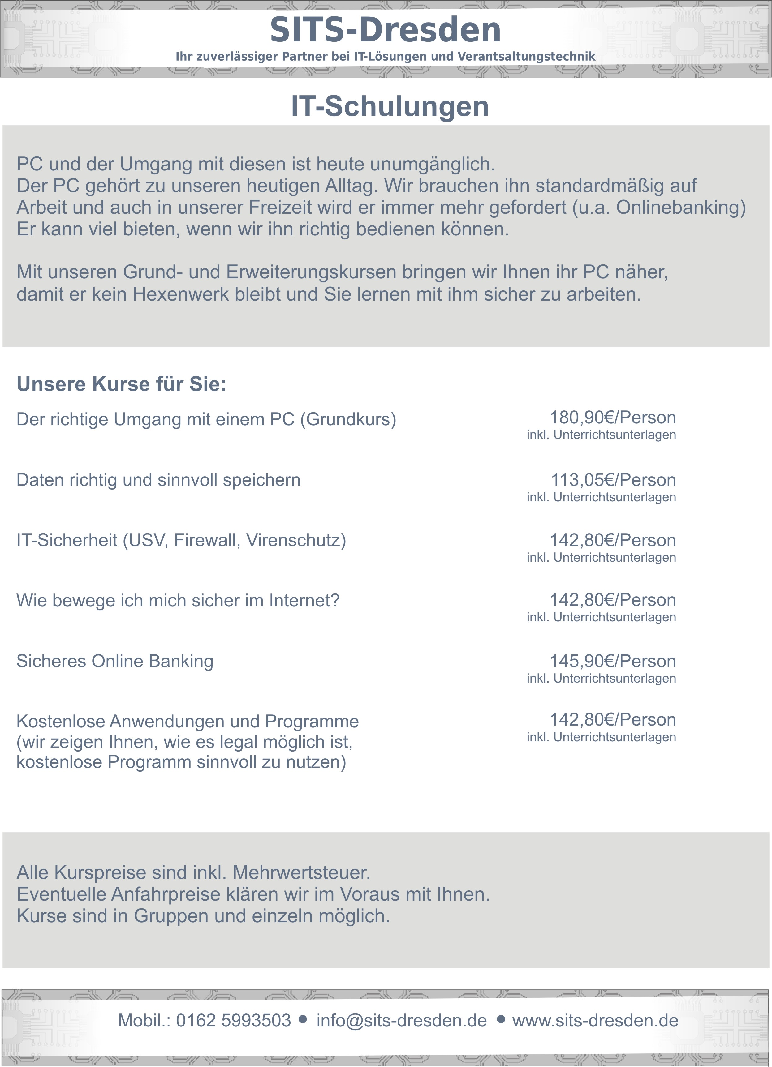 Unsere IT Schulungen, Kurse, Workshops